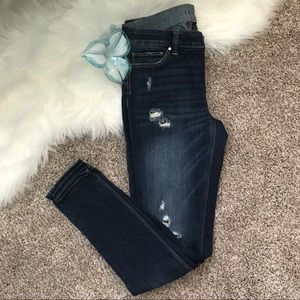 WHBM Destructed Sequin Skinny Jeans